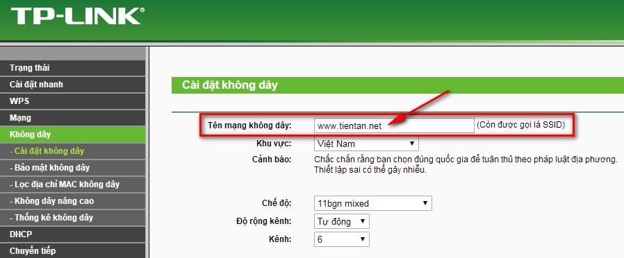 Nhập tên mới của mạng wifi mà bạn thay đổi