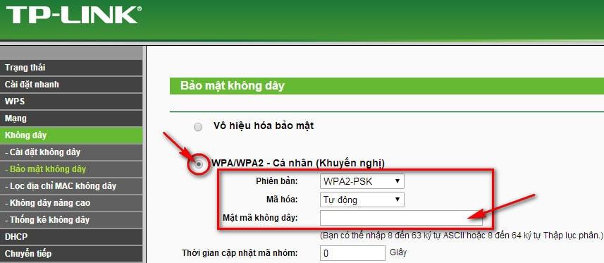 Thay đổi mật khẩu wifi cho modem tại mục Mật mã không dây
