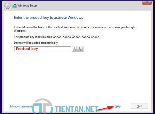 Nhập Product Key bản quyền của Windows 10