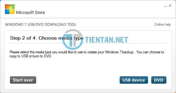 Chọn thiết bị USB để tạo USB cài đặt Windows 7,8,10