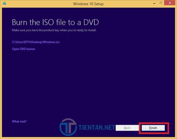 Hoàn tất việc tải Windows 10