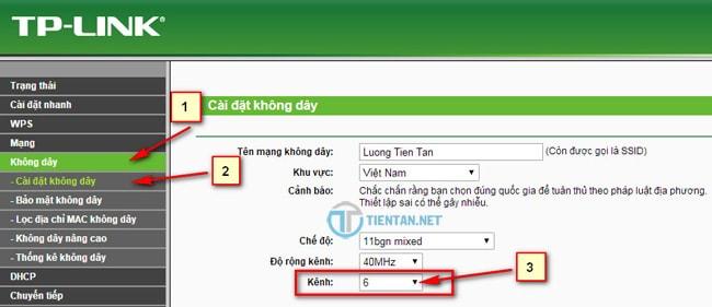 Thay đổi kênh wifi sang chanel 6