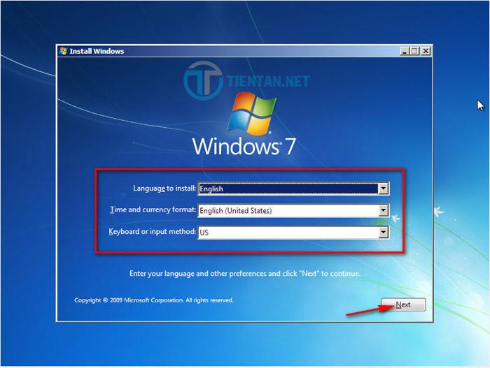 Chọn ngôn ngữ cài đặt Windows 7