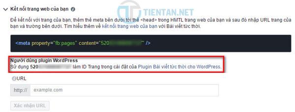 nhập mã ID fanpage vào Plugin Instant Articles for WP