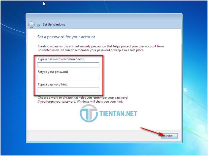 Nhập Password cho user