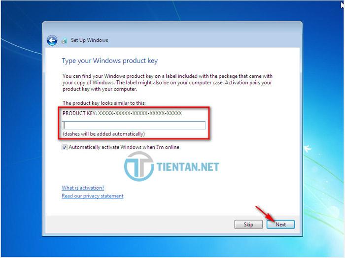 Nhập License Windows 7