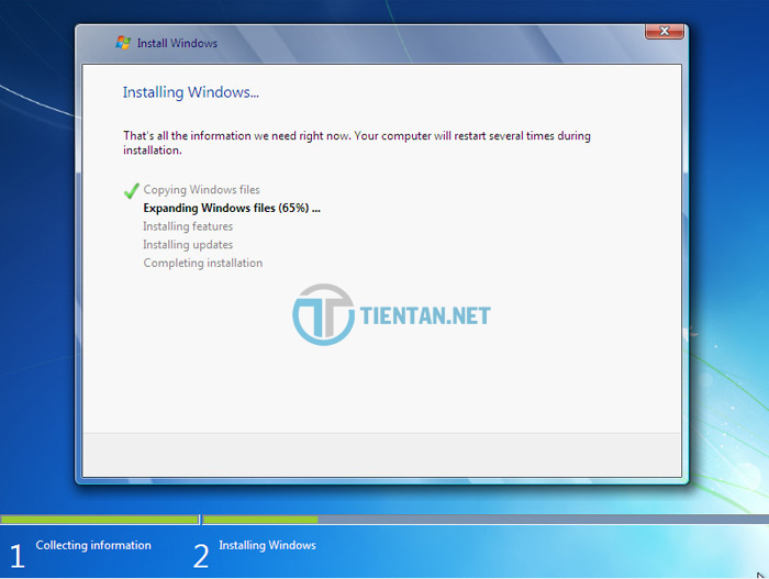 Quá trình cài đặt Windows 7 diễn ra