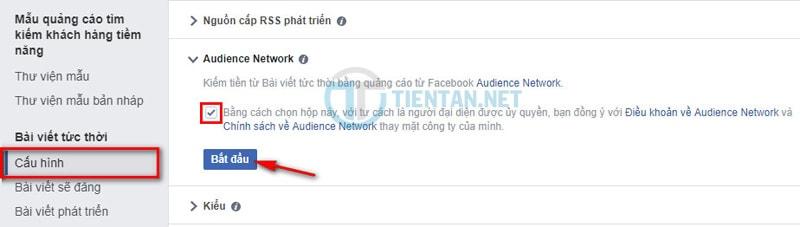 bật kiếm tiền Facebook Audience Network