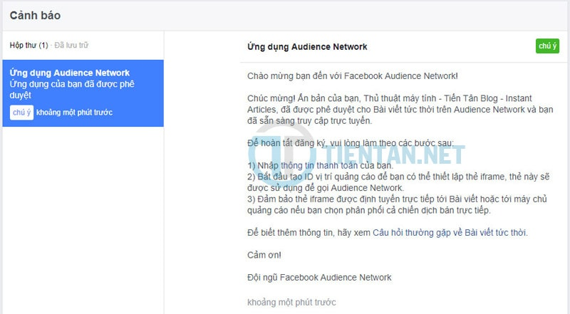 Kiếm tiền facebook audience network