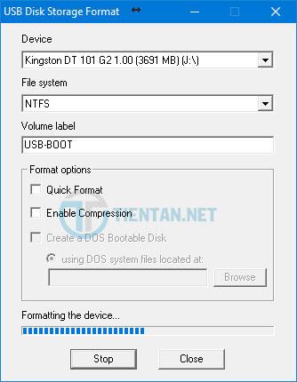 Quá trình forrmat USB diễn ra