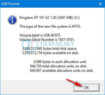 Hoàn thành Format USB