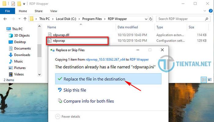 Replace file rdpwrap.ini trên Win 10 1903
