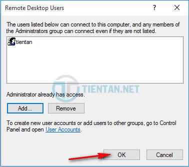 thêm User remote Desktop