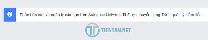 Truy cập trình quản lý kiếm tiền trên facebook audience network