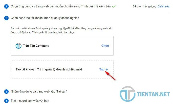 Tạo tài khoản trình quản lý doanh nghiệp facebook