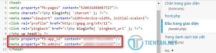 Thêm ID App vào ID User vào trình quản lý bình luận Facebook