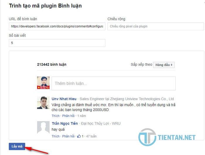 Lấy code Comment Facebook chèn vào website WordPress