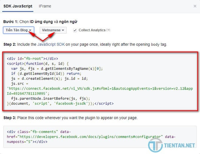 Chèn code khung Facebook comment vào Website