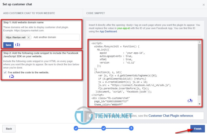 Thêm code Customer Chat Facebook vào Website