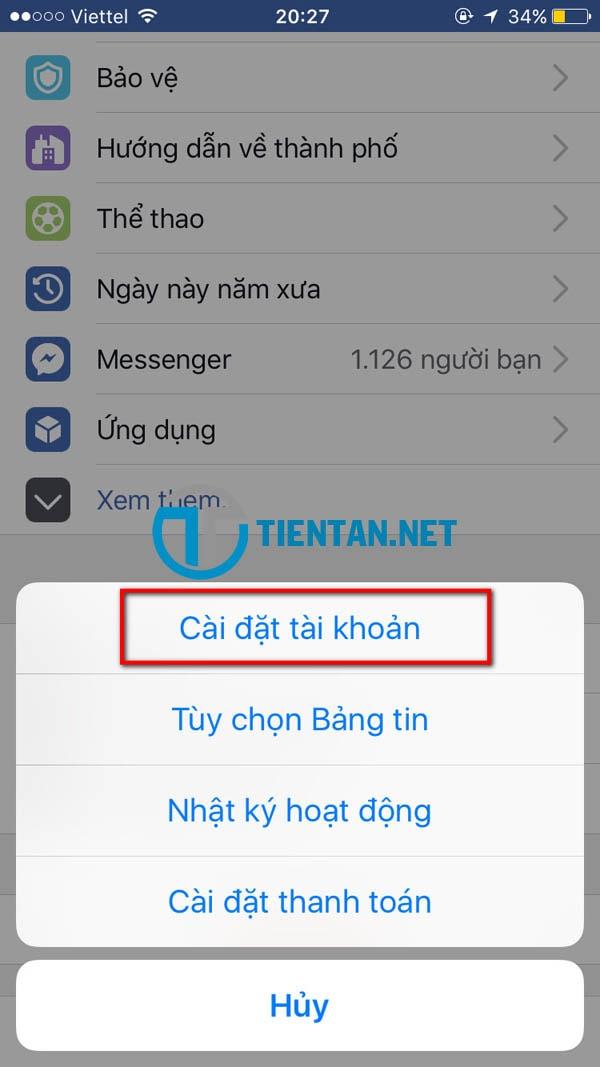 Thay đổi password facebook trên điện thoại iphone