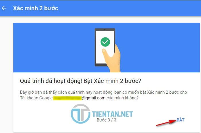 Bật xác minh 2 bước cho tài khoản Gmail mới nhất