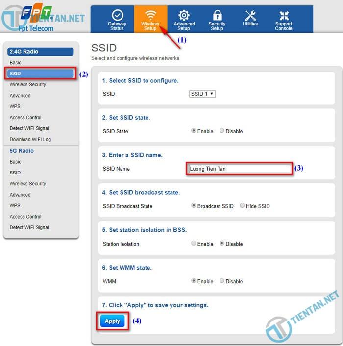 Hướng dẫn đổi tên mạng wifi FPT ( SSID modem Wifi FPT)