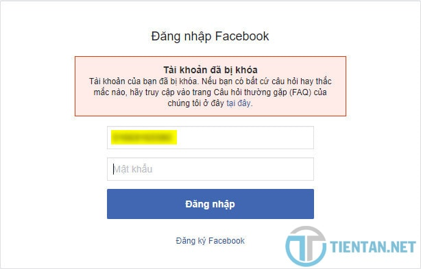 Tài khoản Facebook bị khóa do vi phạm chính sách của Facebook