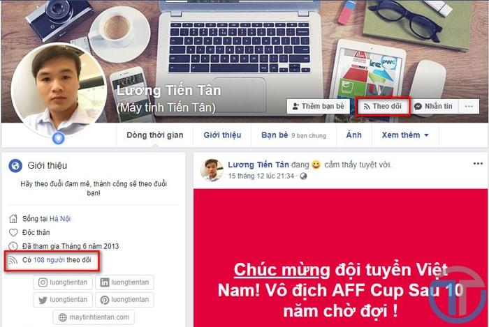 Kích hoạt chế độ theo dõi facebook trên trang cá nhân thành công