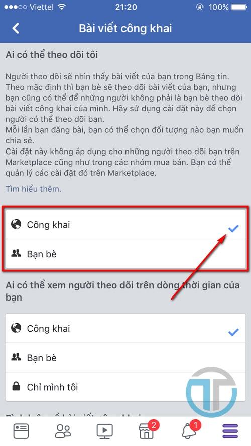 Mở chế độ người theo dõi, bạt nút theo dõi trên Facebook bằng điện thoại