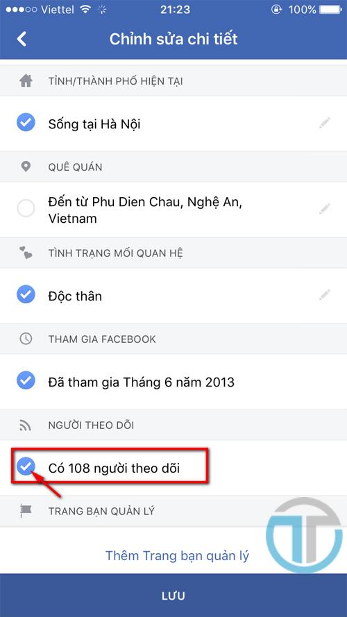 Hiển thị số người theo dõi bạn trên facebook