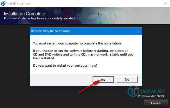Hãy click vào Yes để khởi động lại máy tính