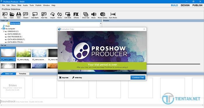 Giao diện phần mềm Proshow Producer 9 sau khi cài đặt thành công