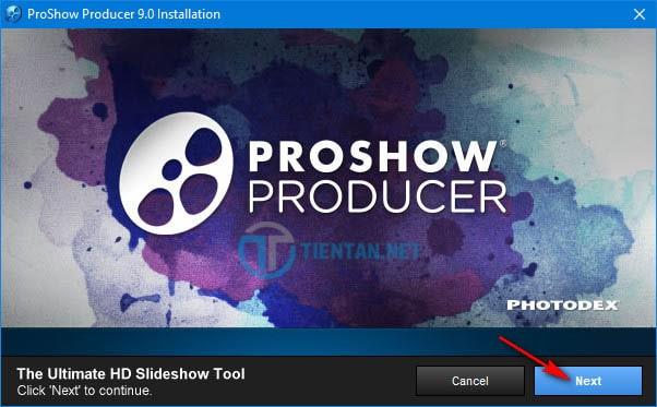Click vào Next để bắt đầu cài đặt phần mềm Proshow Producer 9.0