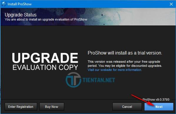 Click vào Next để tiếp tục cài đặt phần mềm Proshow Producer 9.0