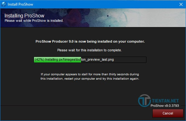 Quá trình cài đặt phần mềm Proshow Producer 9.0 diễn ra trong ít phút