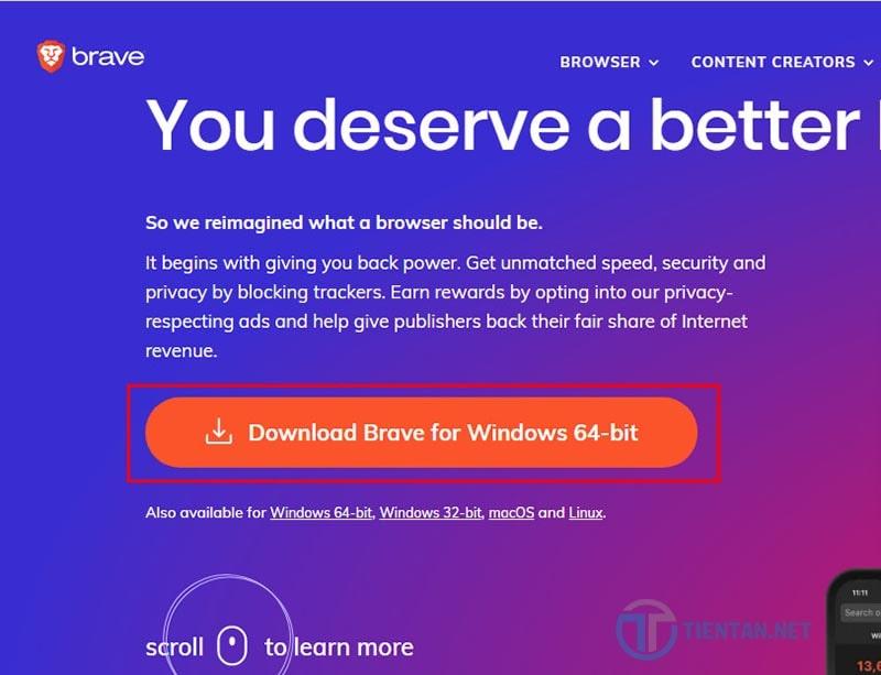 Download trình duyệt brave về máy tính