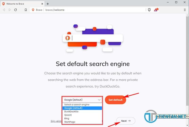 Chọn công cụ tìm kiếm mặc định trên Brave